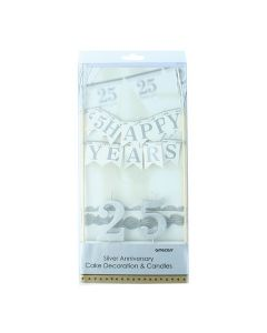 25 Years Cake Bunting Banner & Candles - single