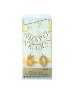 50 Years Bunting Banner and Candles - single