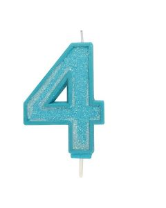 Blue Sparkle Numeral Candle - Number 4 - 70mm - single