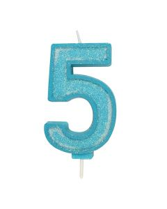 Blue Sparkle Numeral Candle - Number 5 - 70mm - single