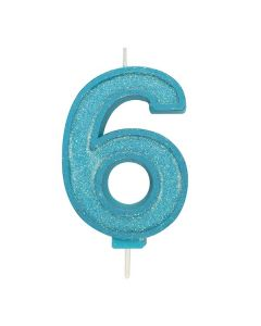 Blue Sparkle Numeral Candle - Number 6 - 70mm - single