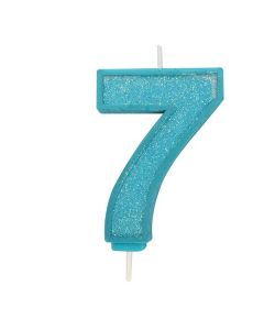 Blue Sparkle Numeral Candle - Number 7 - 70mm - single