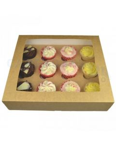 12 Cupcake Brown Window Box with 6cm Dividers (pack of 5)