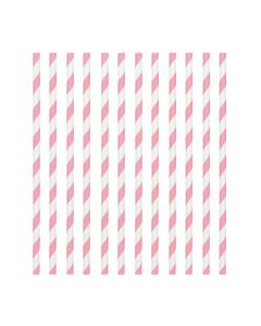 Pink Candy Stripe Paper Straws
