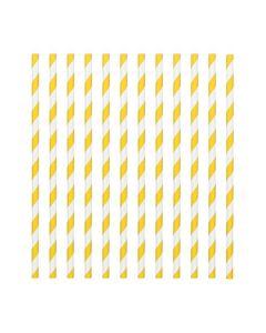 Yellow Candy Stripe Paper Straws