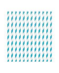 Caribbean Blue Candy Stripe Paper Straws