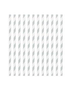 Silver Candy Stripe Paper Straws