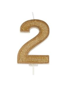 Gold Sparkle Numeral Candle - Number 2 - 70mm - single