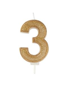 Gold Sparkle Numeral Candle - Number 3 - 70mm - single