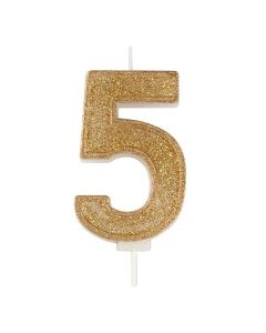 Gold Sparkle Numeral Candle - Number 5 - 70mm - single