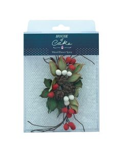 House of Cake - Pine Cone & Holly Spray - approx 160 x 80mm