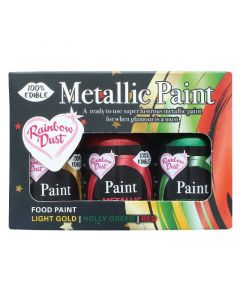 Rainbow Metallic Paint collection - Light Gold, Holly Green and Red - 3 x 25g