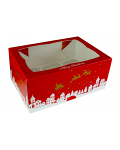 6 Cupcake Xmas Window Box with 6cm Dividers (pack of 5)