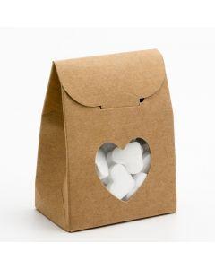 35504 - Rustic Kraft Sacchetto with Heart Shaped Window Box 60x35x80mm
