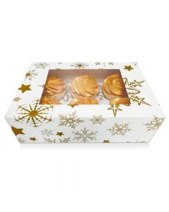 6 Cupcake Gold Stars Window Box with 6cm Dividers (pack of 5)