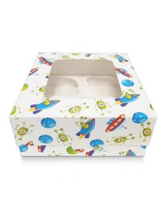 4 Cupcake White Spaceship Window Box with 6cm Dividers (pack of 10)