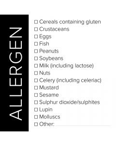 Black Square Allergen List Sticker Label - Roll of 100