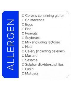 Blue Square Allergen List Sticker Label - Roll of 100