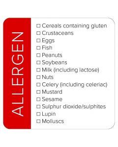 Red Square Allergen List Sticker Label - Roll of 100