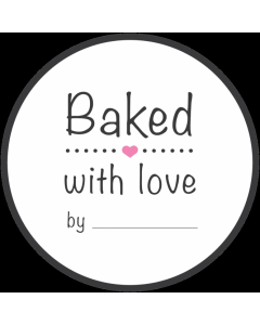 Round White 'Baked With Love' Sticker Labels - Roll of 100