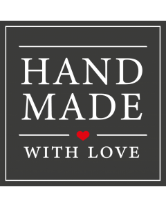 Square Black 'Handmade With Love' Sticker Label - Roll of 100