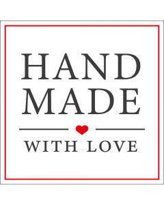 Square White 'Handmade With Love' Sticker Label - Roll of 100