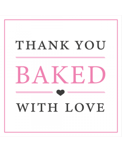 Square White 'Thank You Baked With Love' Sticker Label - Roll of 100
