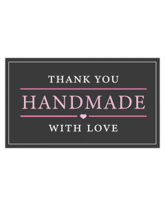Rectangle Black & Pink 'Handmade With Love' Sticker Label - Roll of 100