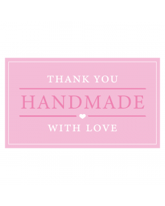 Rectangle Pink 'Handmade With Love' Sticker Label - Roll of 100