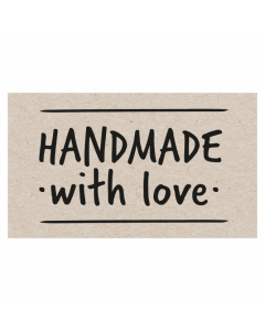 Rectangle 'HANDMADE With Love' Sticker Label - Roll of 100.