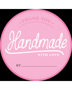 Round Pink 'Handmade With Love' Sticker Label - Roll of 100