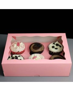 6 Cupcake Pink Window Box with 6cm Dividers (pack of 5)