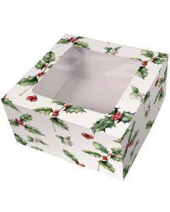 "Holly Christmas Box and Cake Card Combo 10"""
