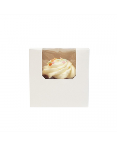 Single Cupcake White Window Box with 6cm Dividers (pack of 10)