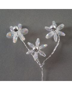 Three iridescent daisies on a silver wire – 48 Pack