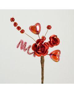 Red metallic rose & hearts spray – 12 Pack