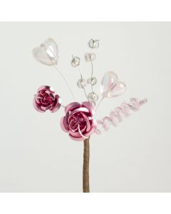 Antique pink metallic rose & hearts spray – 12 Pack