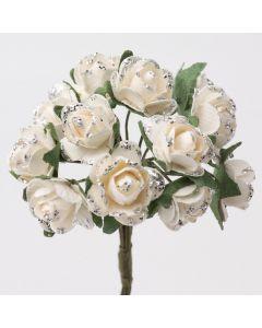 Silver/off-white glitter paper tea rose – 144 Pack