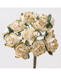 Gold/ivory glitter paper tea rose – 144 Pack