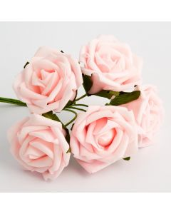 Pale pink 5cm Colourfast foam rose – bunch of 6