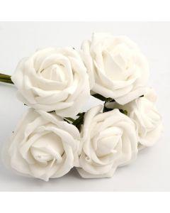 White 5cm Colourfast foam rose – bunch of 6