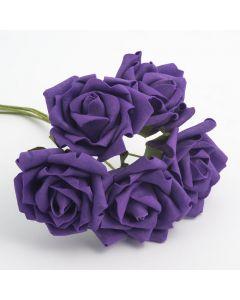 Purple 5cm Colourfast foam rose – bunch of 6