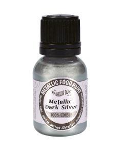 Rainbow Dust Metallic Edible Paint: Dark Silver (25ml)
