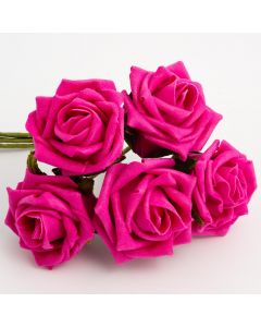 Hot pink 5cm Colourfast foam rose – bunch of 6