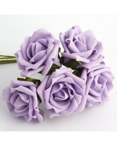 Lilac 5cm Colourfast foam rose – bunch of 6