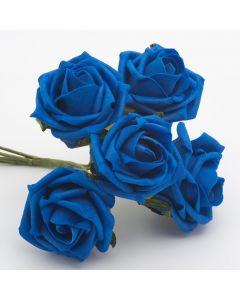 Royal Blue 5cm Colourfast foam rose – bunch of 6