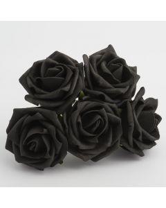 Black 5cm Colourfast foam rose – bunch of 6