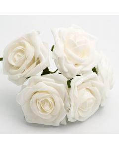 White large open rose foam flower – bunch of 5