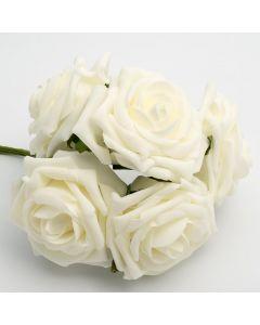 Ivory large open rose foam flower – bunch of 5