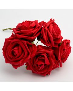 Red large open rose foam flower – bunch of 5